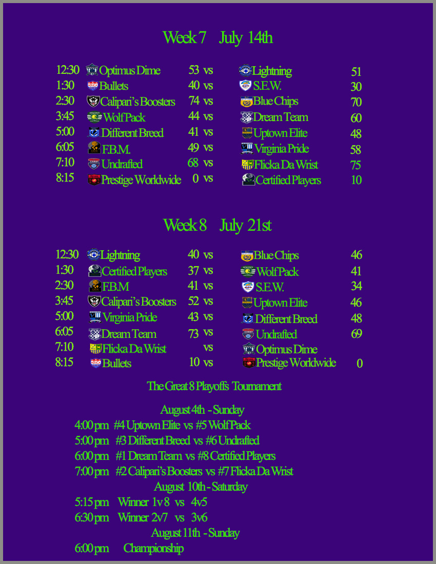 Game Schedule | Chevy Chase Basketball League